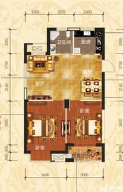 铜冠一品江山E1户型2室2厅73.64㎡