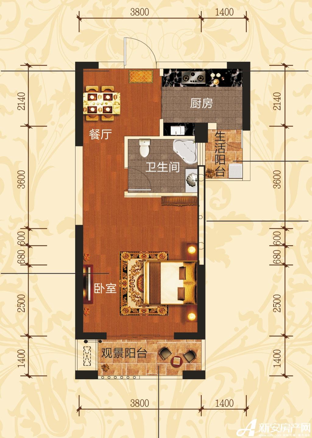 铜冠一品江山E2/E3户型1室1厅51.48平米