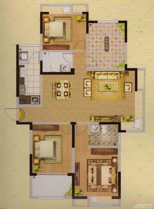 御品华府A户型4室2厅120平米