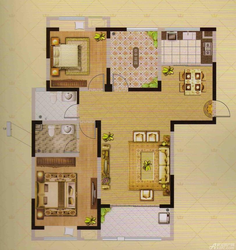 御品华府B、D户型3室2厅110平米