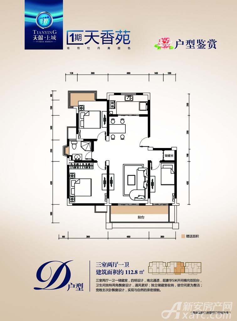天盈上城D户型3室2厅112.8平米