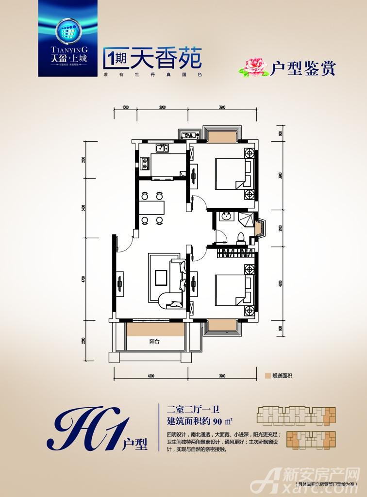 天盈上城H1户型2室2厅90平米