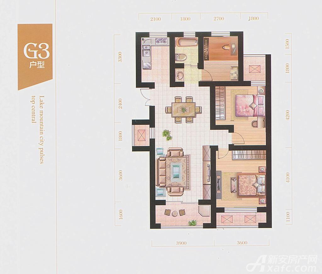 皖江水木清华G3户型3室2厅111平米