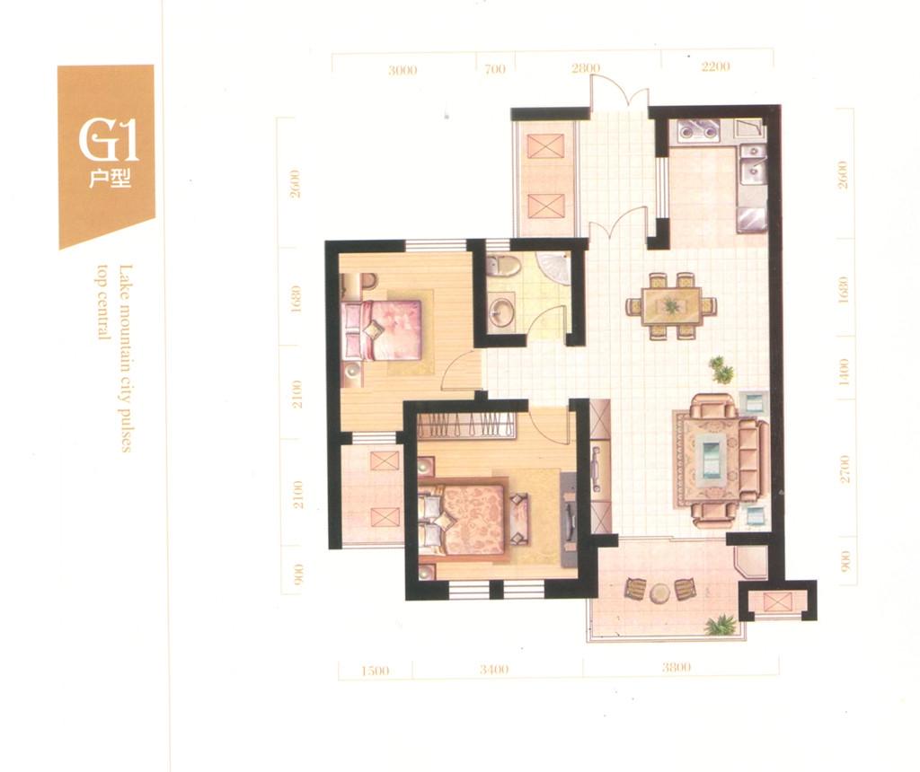 皖江水木清华G1户型2室2厅79平米