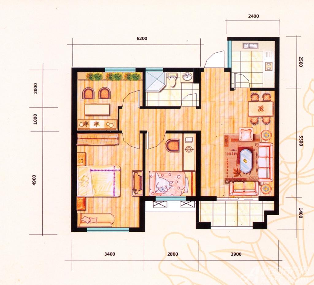 荷塘月色荷塘月色102平3室2厅一厨一卫。3室2厅102平米