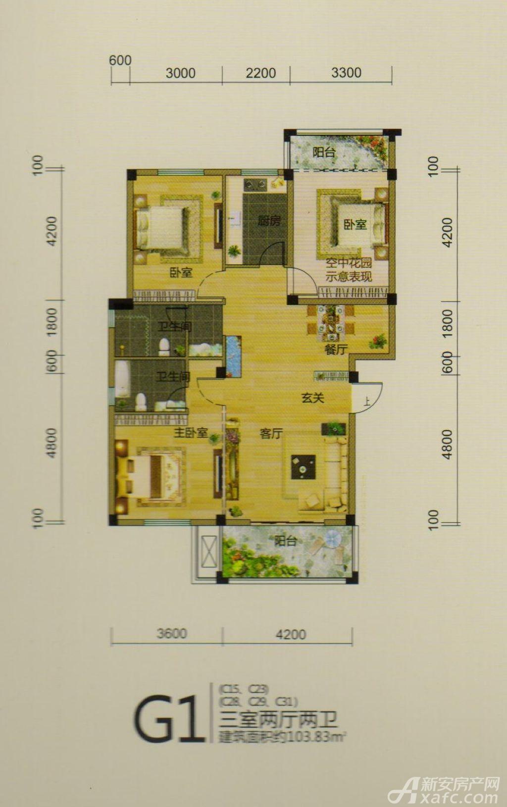 龙登和城G1户型3室2厅103.83平米