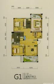 龙登和城G1户型3室2厅103.83㎡