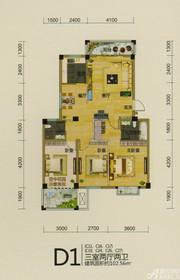 龙登和城D1户型3室2厅102.56㎡