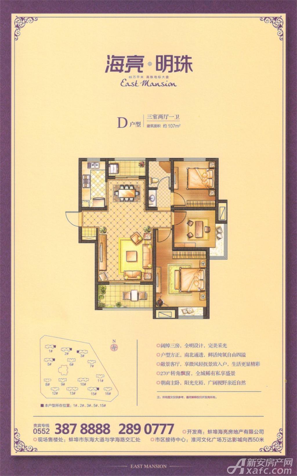 海亮明珠D户型3室2厅107平米