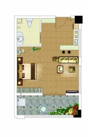 胜锦尚城国际公寓户型1室1厅40㎡
