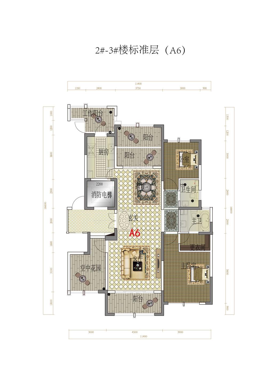 金融世家标准层A6户型4室2厅140平米