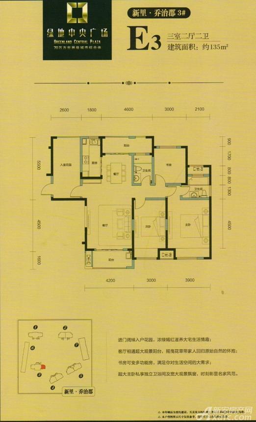 绿地中央广场E3户型3室2厅135平米