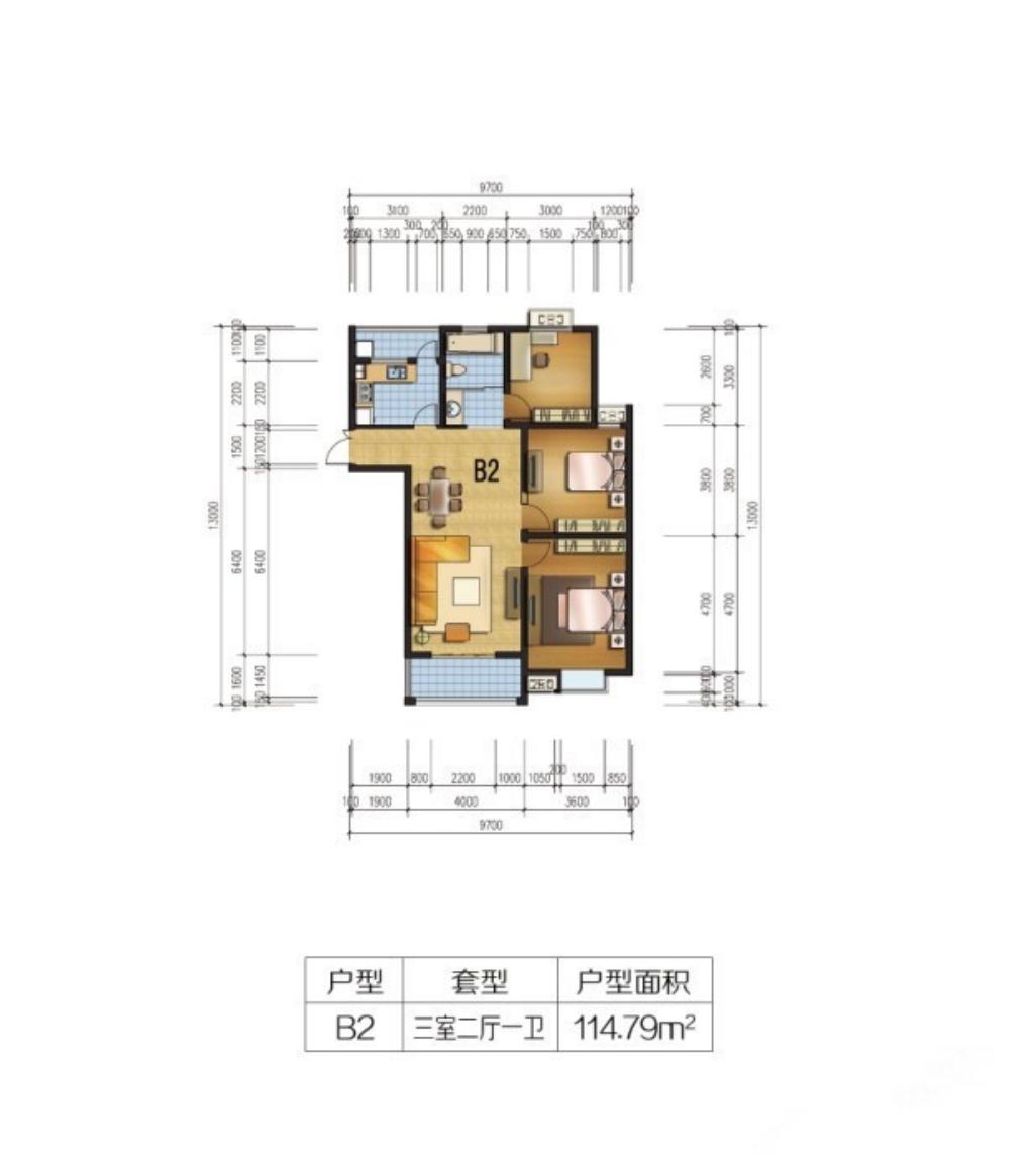 通成紫都B2户型3室2厅114.79平米