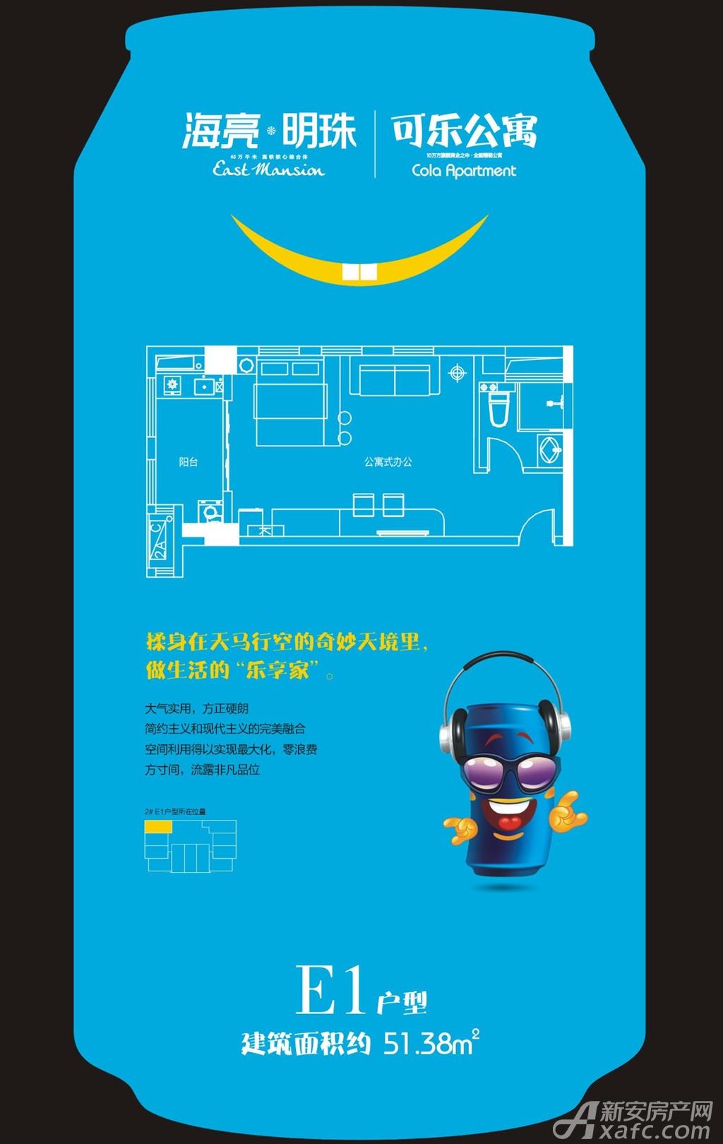 海亮明珠E1(公寓)户型1室1厅51.38平米