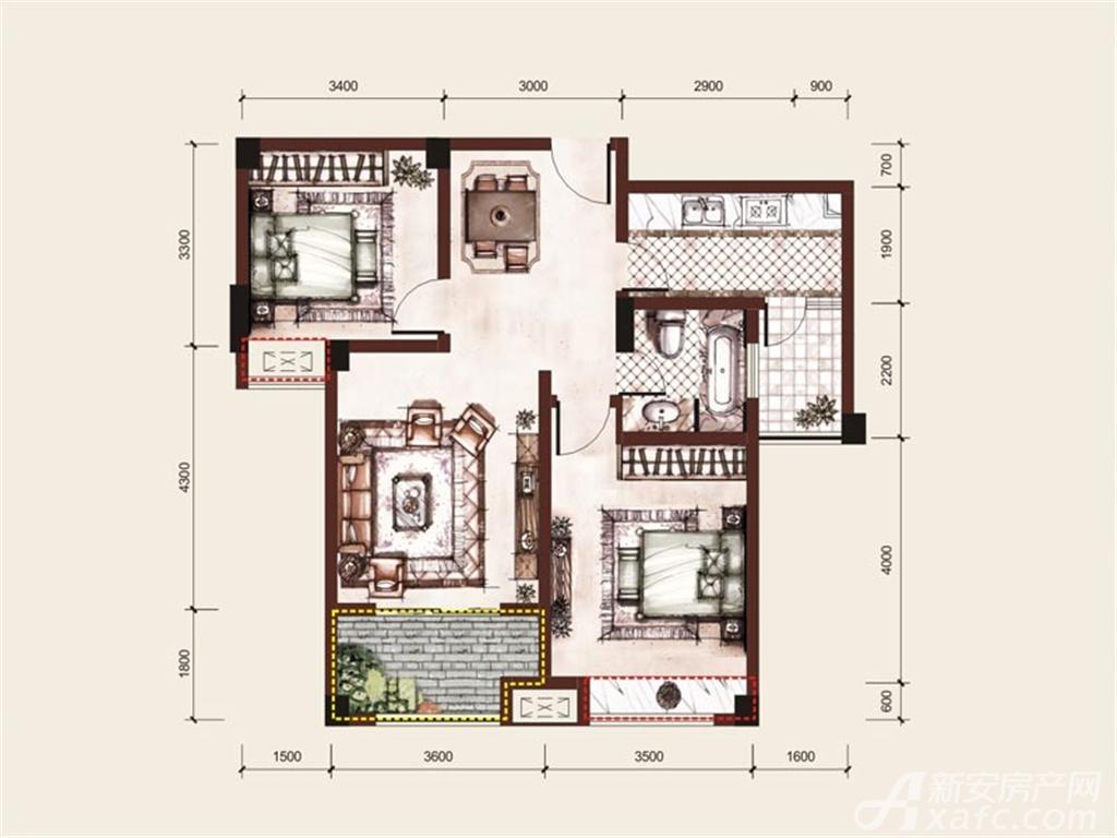 朝辉豪庭C2户型 2室2厅1卫2室2厅80平米
