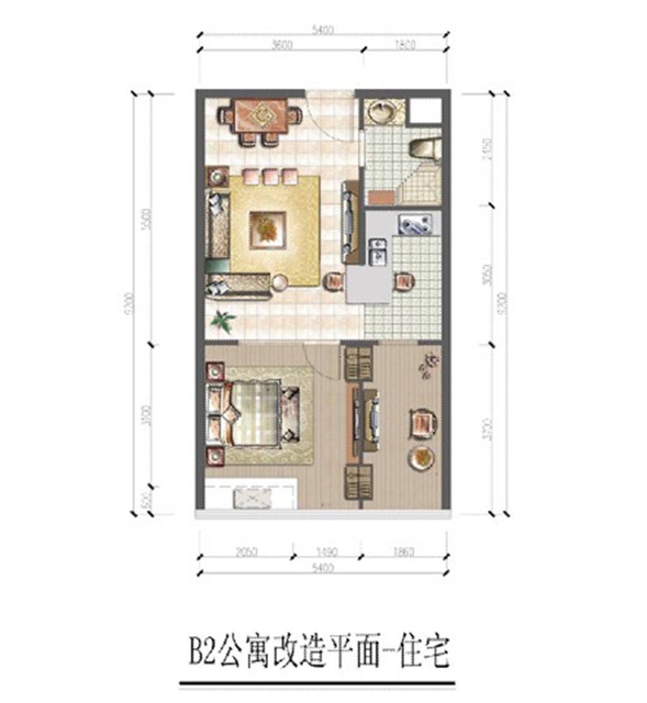 大华锦绣国际B2住宅户型2室1厅66平米