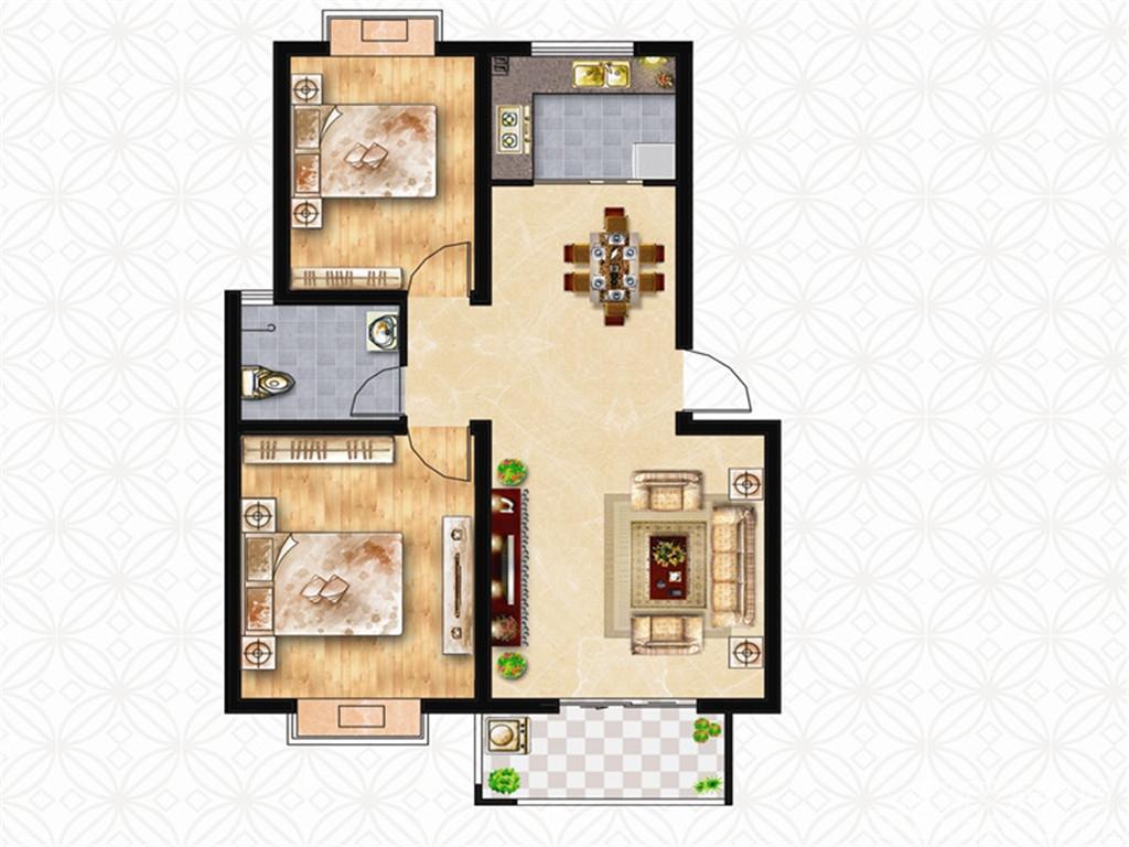 绿洲茗苑B户型2室2厅83.63平米