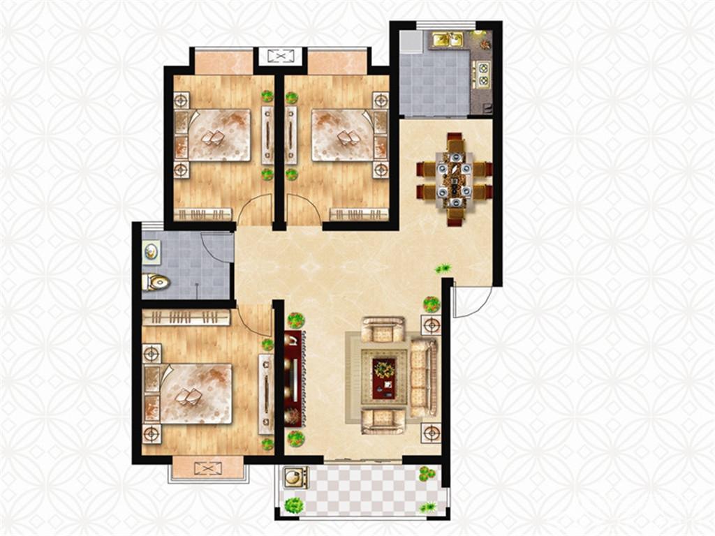 绿洲茗苑E户型3室2厅102.78平米