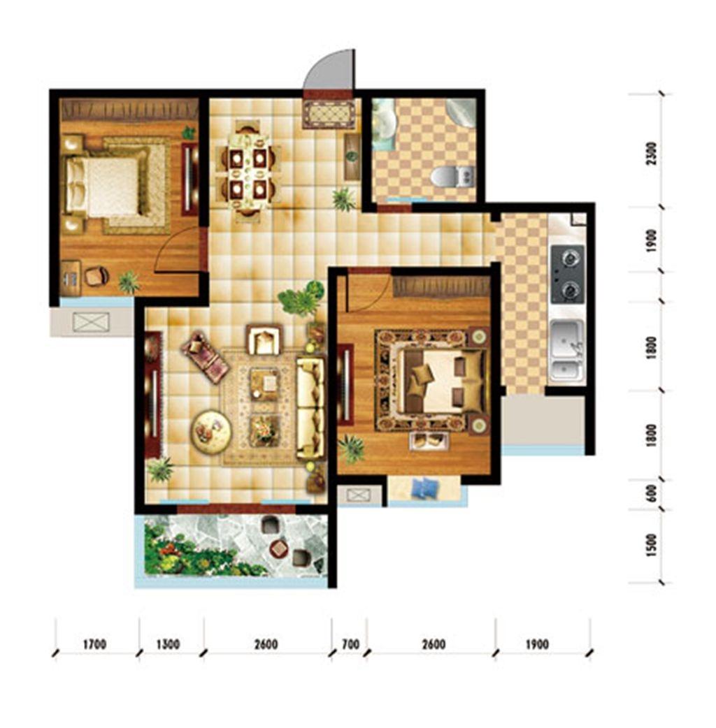 润泽家园J户型2室2厅1卫2室2厅93.74平米