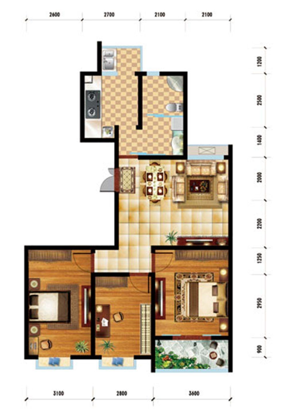 润泽家园H户型 3室2厅1卫3室2厅111.11平米