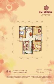 天湖国际9#C1户型3室2厅108.38㎡