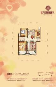 天湖国际10#C2户型3室2厅111.87㎡