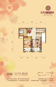 天湖国际10#C3户型2室2厅87.44㎡