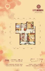 天湖国际9#C3户型3室2厅104.75㎡