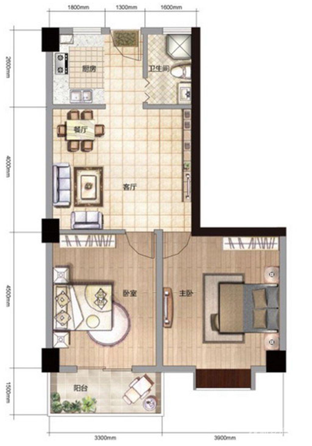 雨山银河湾S3户型 2室2厅1卫2室2厅93平米