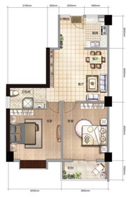 雨山银河湾S1户型 2室2厅1卫2室2厅97㎡
