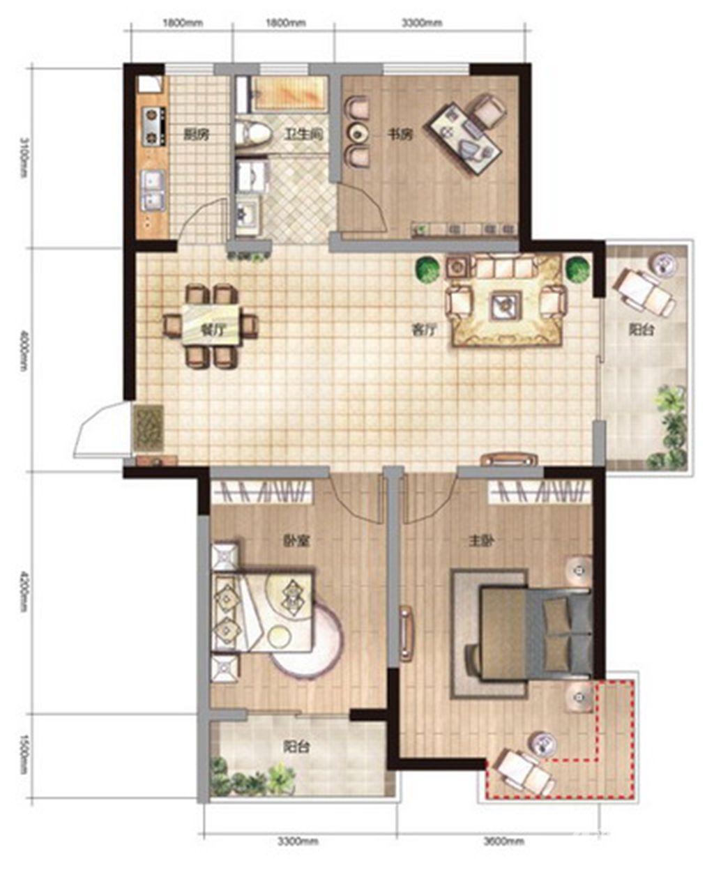 雨山银河湾R3户型 3室2厅1卫3室2厅116平米