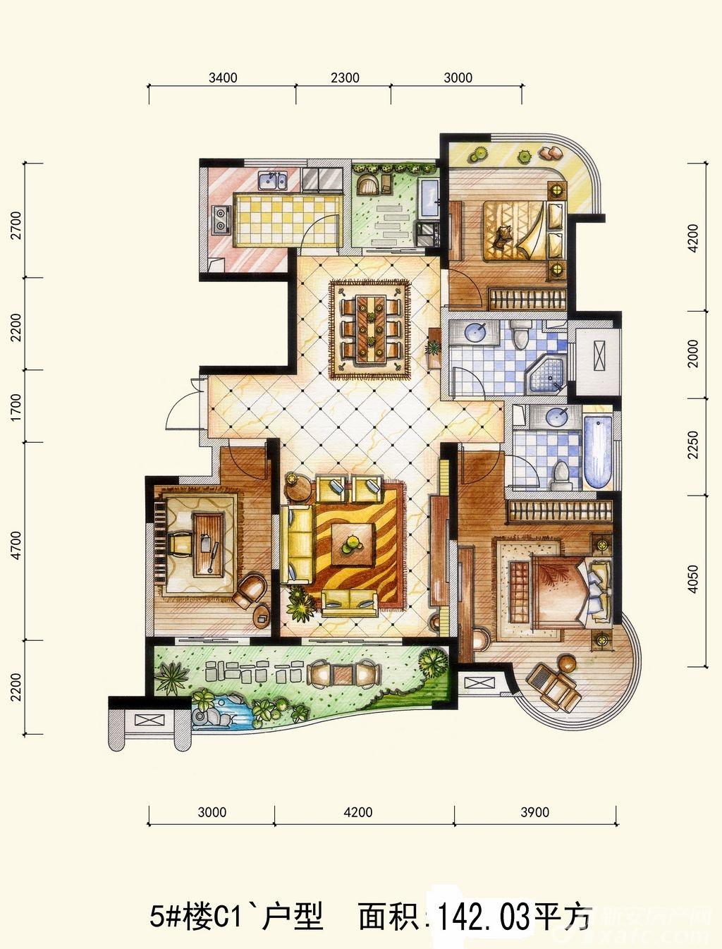 两淮融景苑C1户型3室2厅142.03平米