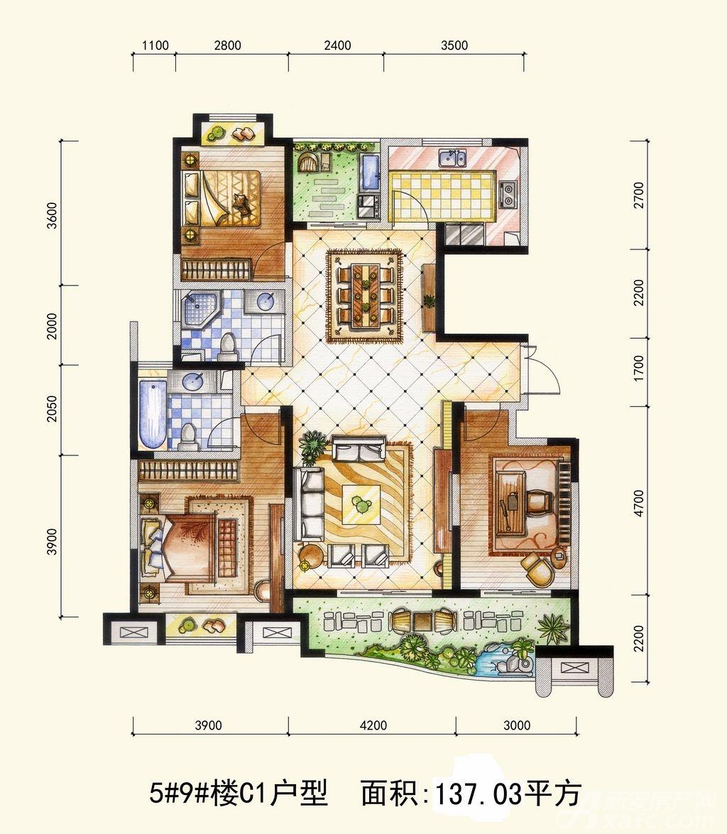 两淮融景苑C1户型3室2厅137.03平米