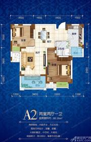 铜冠迎江花园A2户型2室2厅80.16㎡