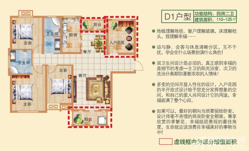 和顺新里程D1户型图4室2厅125平米