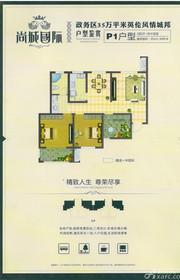 胜锦尚城国际P1户型3室2厅101.98㎡