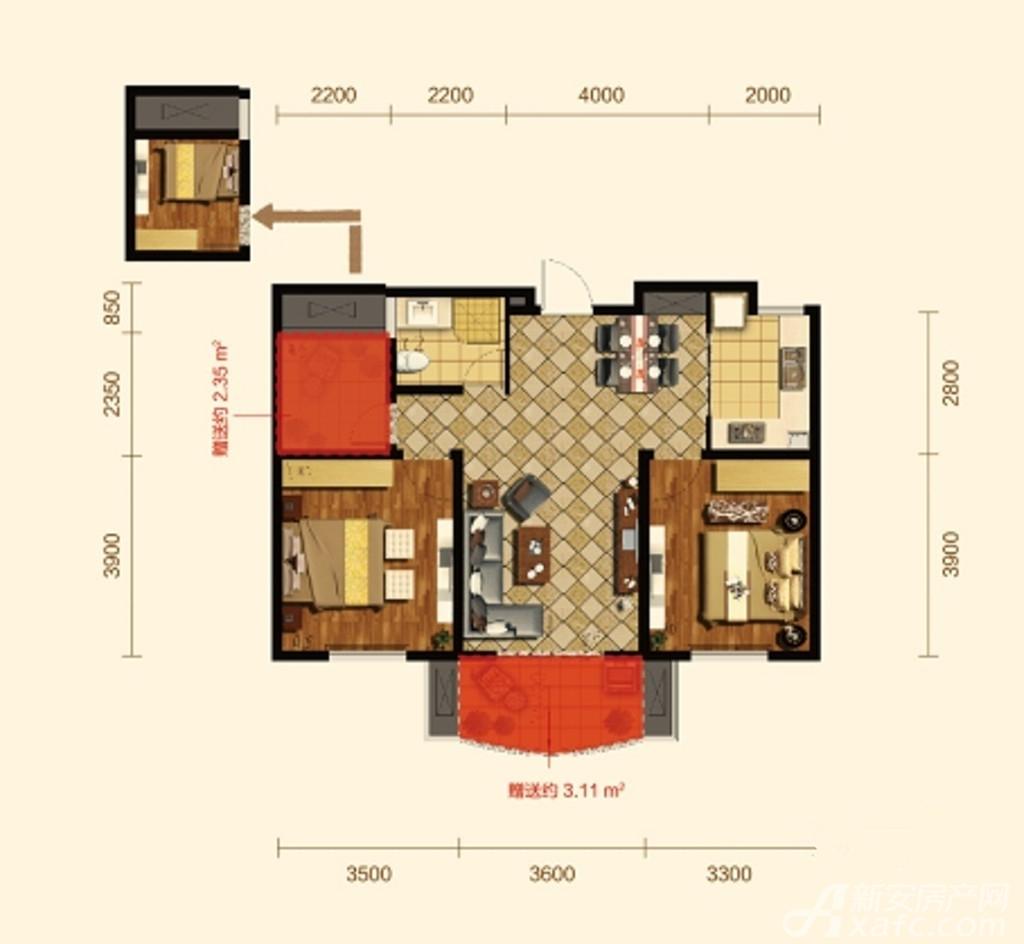 康恒嘉和豪庭1-B户型2室1厅92.44平米