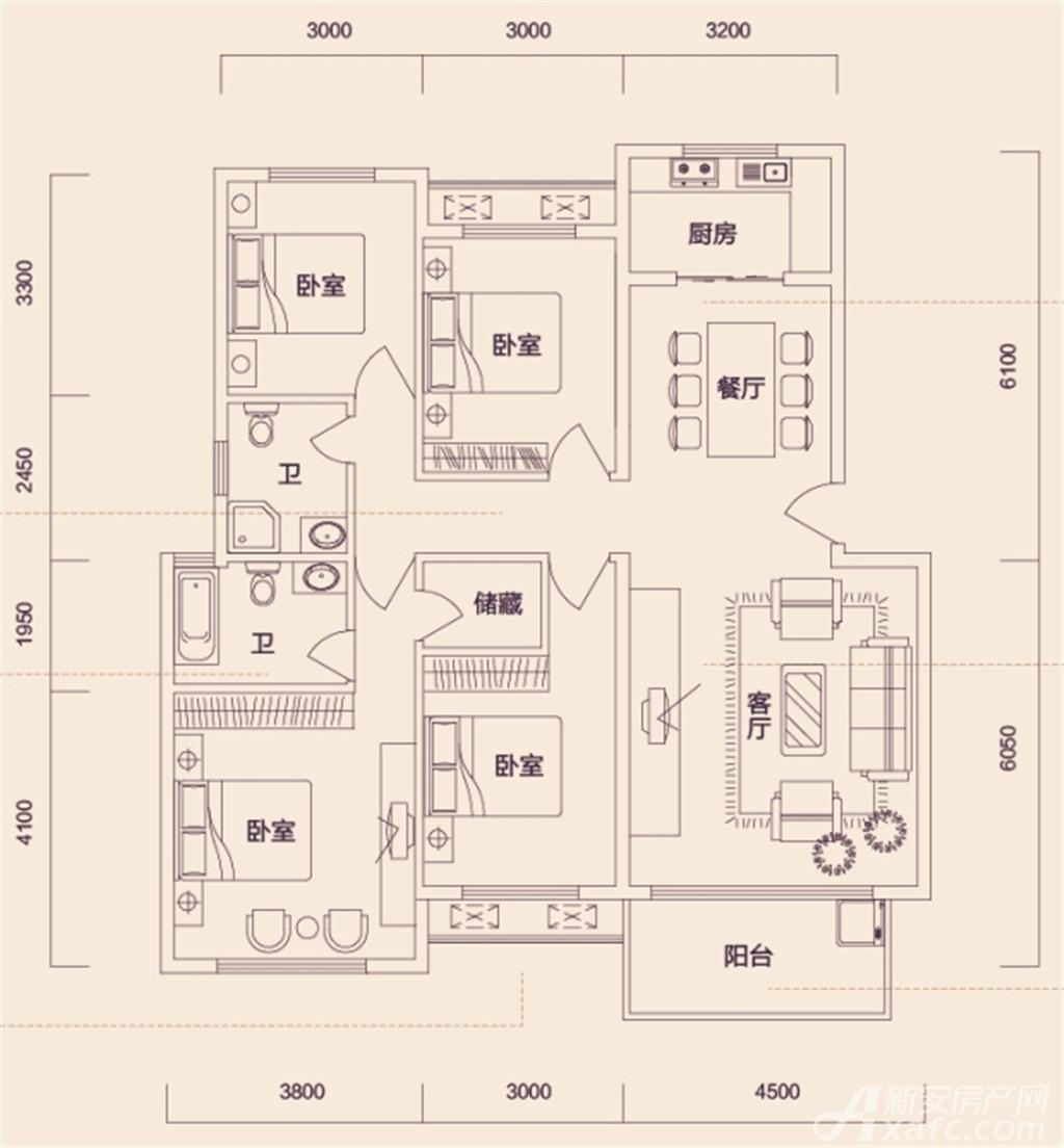 翔豪新都多层四室两厅两卫4室2厅125平米