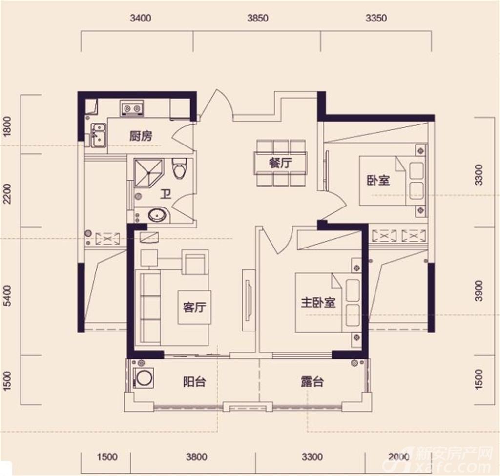 翔豪新都高层两室两厅一卫2室2厅86平米