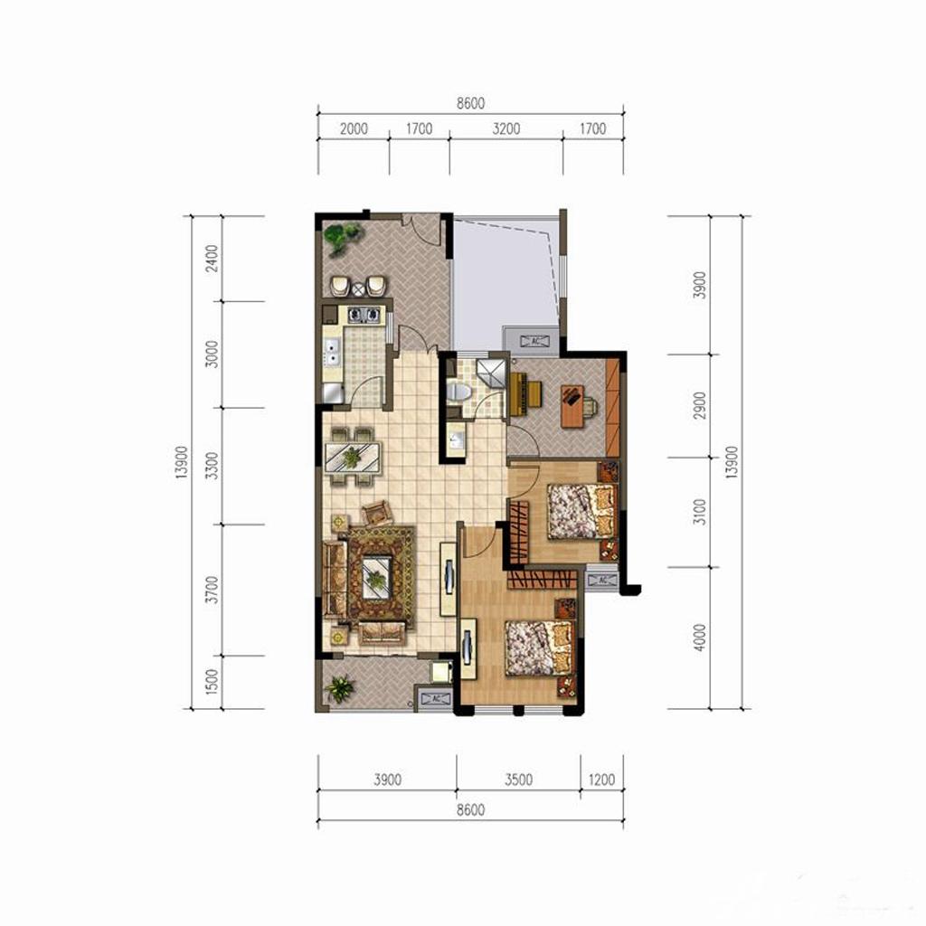 华夏湖畔御苑C2户型3室2厅94.7平米