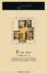 国鑫西城锦湖E户型3室2厅96㎡