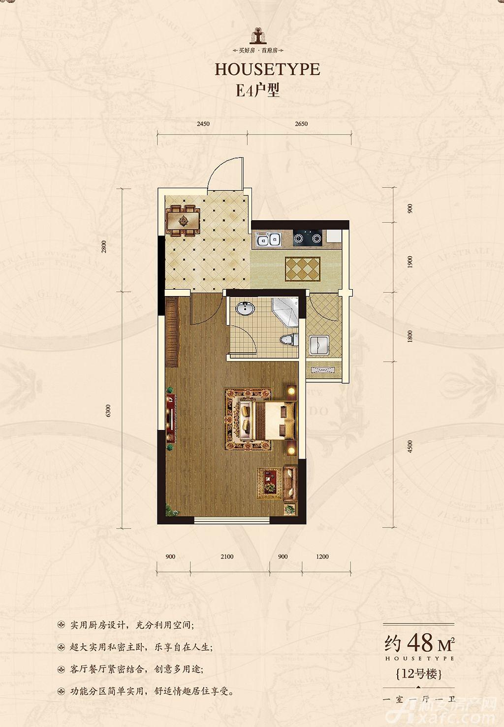 首府70年产权公寓E41室1厅48平米