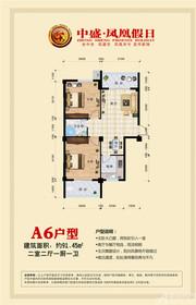 中盛凤凰假日A6户型91.45㎡ 两室两厅一卫2室2厅91.45㎡