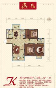 书香一品三室两厅一卫K1户型3室2厅119.67㎡