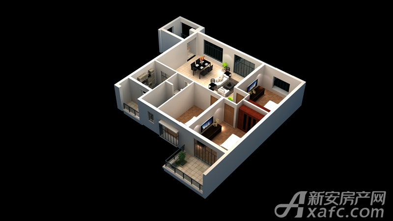 广齐城市广场C户型3室2厅104.47平米