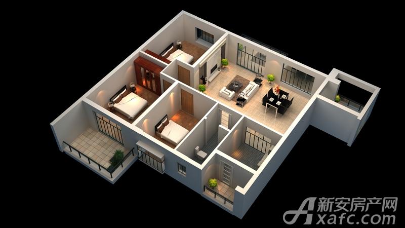 广齐城市广场A户型3室2厅104.63平米