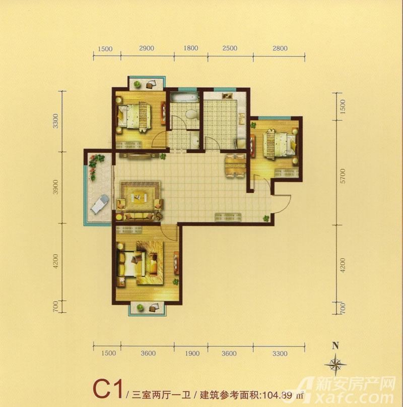 绿水家园璟庭C1户型3室2厅104.89平米