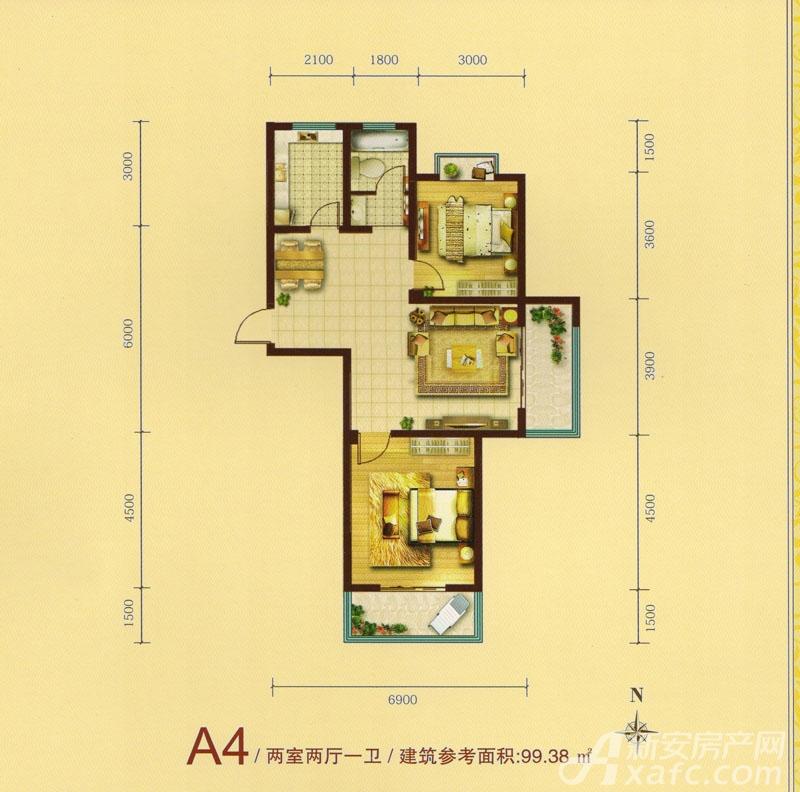 绿水家园璟庭A4户型2室2厅99.38平米
