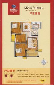 鑫旺盛世莲花二期M2户型3室2厅89.08㎡