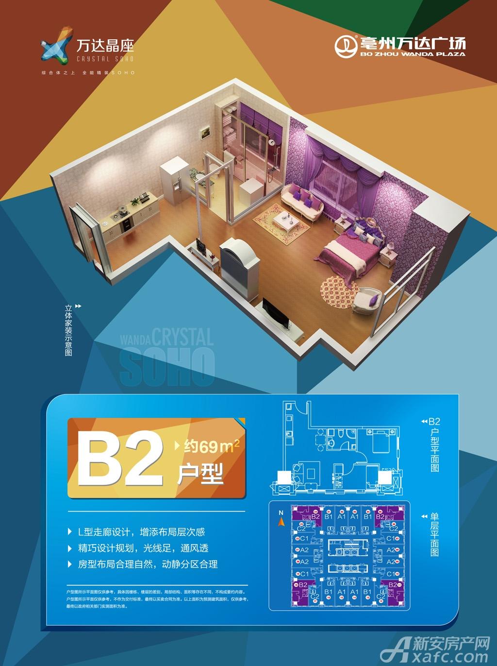 亳州万达广场精装soho B2户型1室1厅69平米